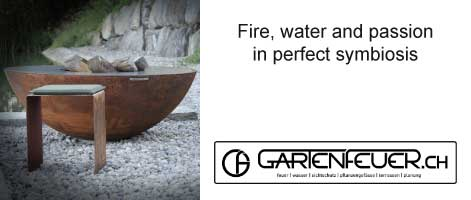 Barbecue ring by Gartenfeuer with stools and barbecue accessories, Swiss Made
