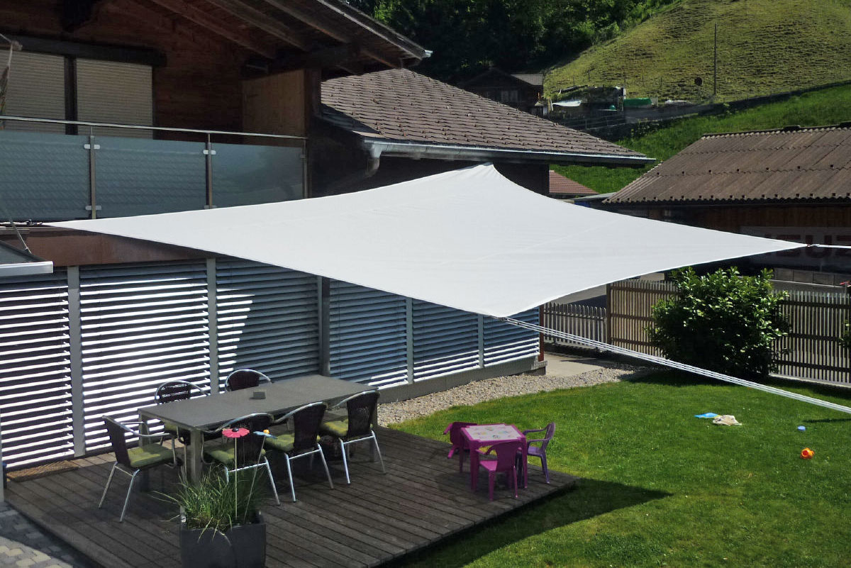 Shading system, sun sail for garden, terrace and balcony by Bühler, Swiss Made