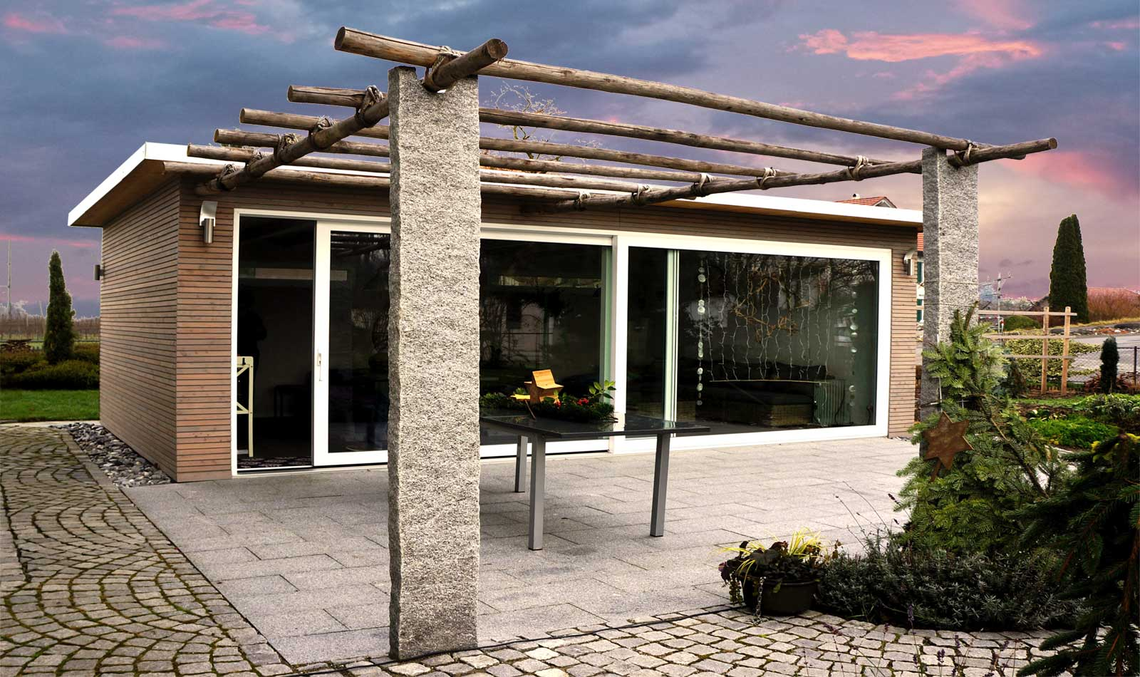 Pergola with wooden garden house by Glovital AG, Swiss Made